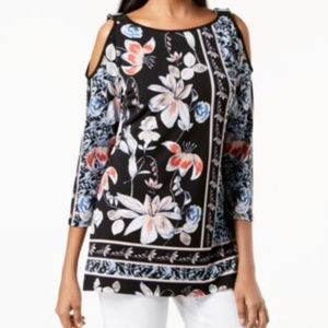 JM Collection Blouse Print Embellished Floral